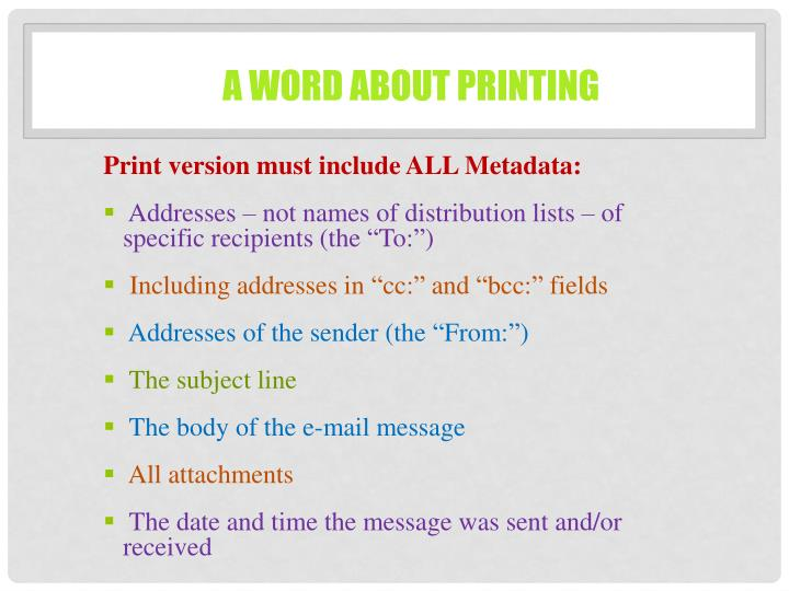 A word about printing