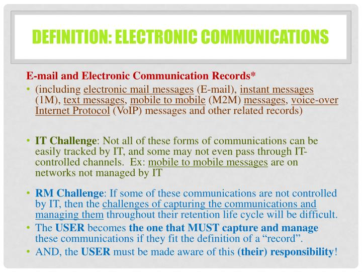 Definition: Electronic communications