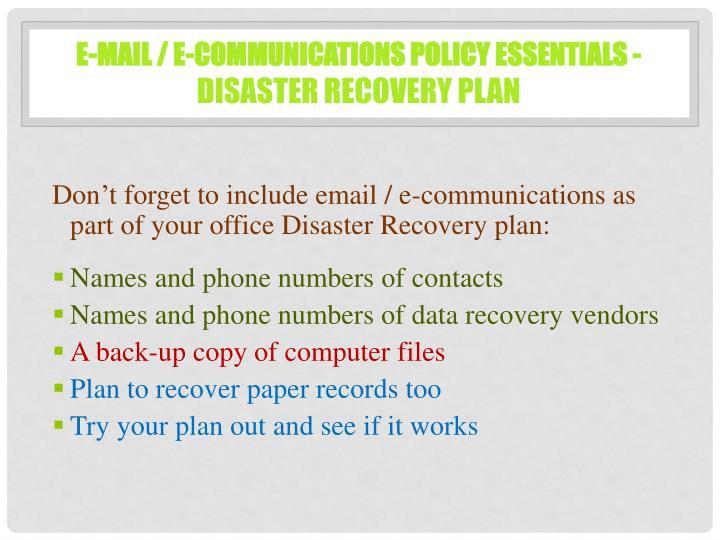 E-mail / E-Communications Policy