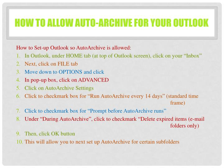 How to allow auto-archive for your outlook