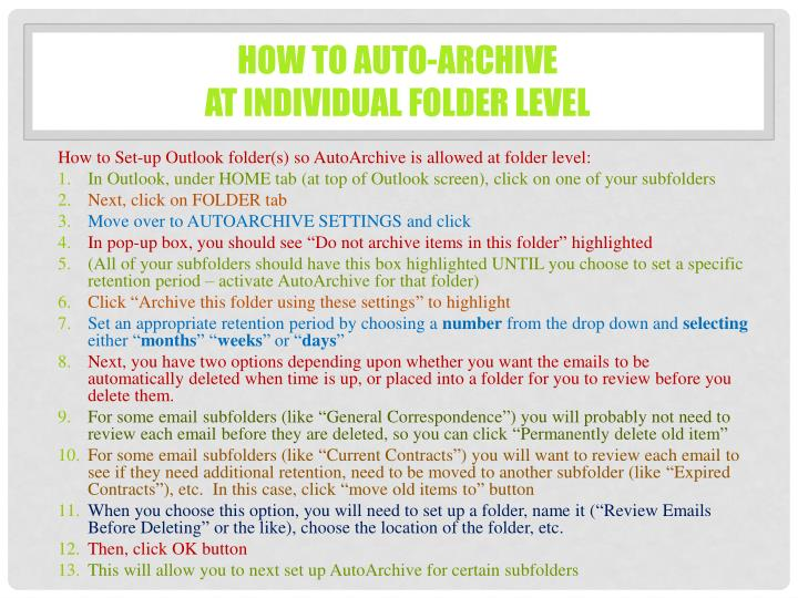 How to Auto-archive