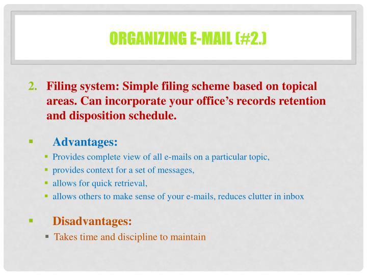Organizing e-mail (#2.)