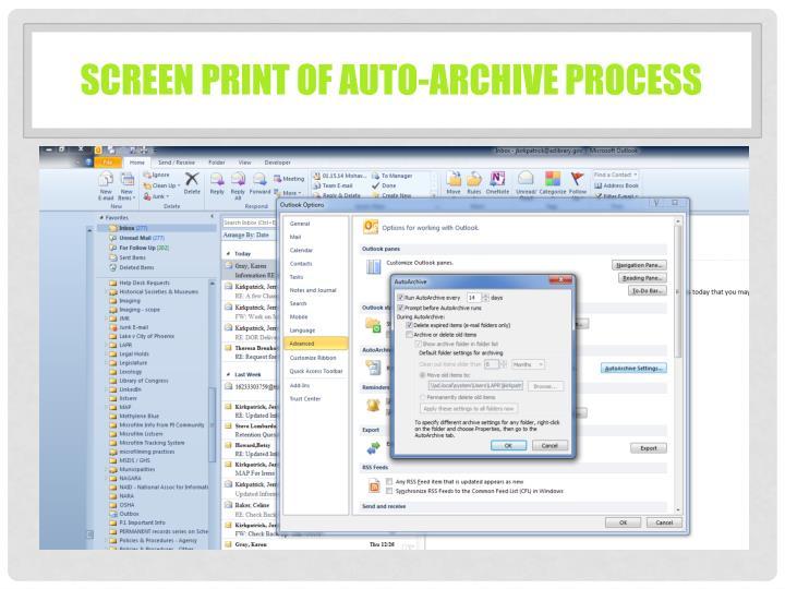 Screen Print of Auto-archive process