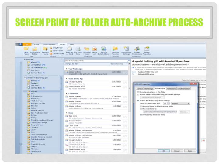 Screen print of folder auto-archive process