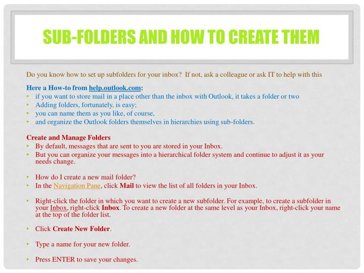 sub-folders and how to create them