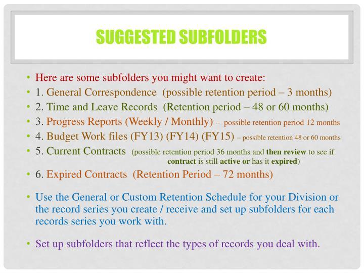 Suggested subfolders