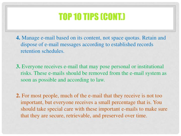 Top 10 Tips (cont.)