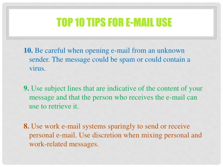 Top 10 Tips for E-mail Use