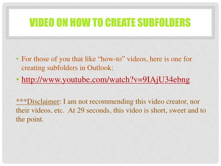 Video on how to create subfolders