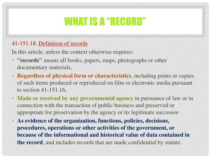 """What is a """"record"""""""