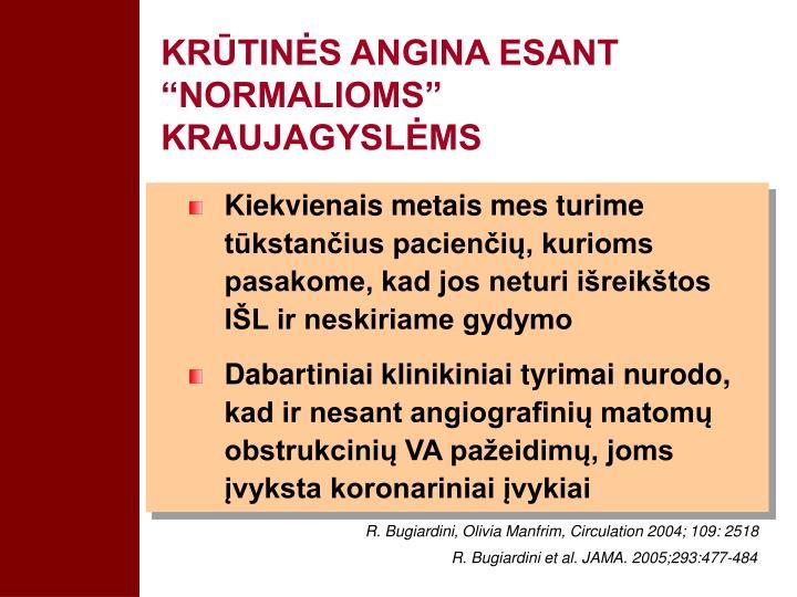 "KRŪTINĖS ANGINA ESANT ""NORMALIOMS"" KRAUJAGYSLĖMS"