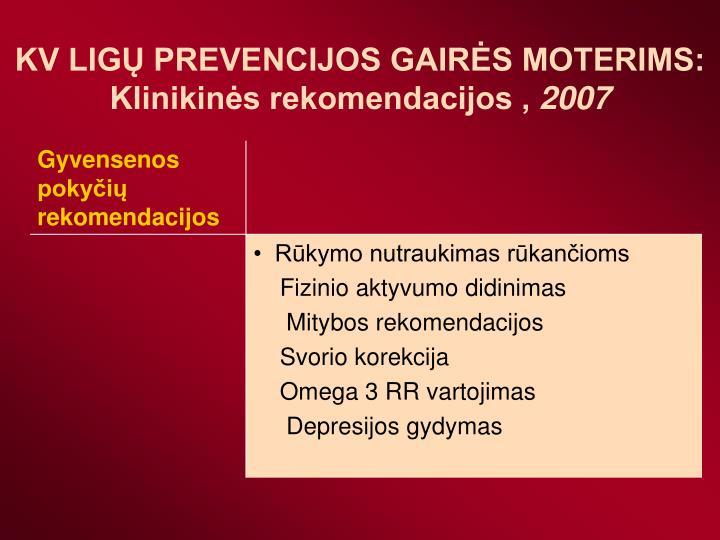 KV LIGŲ PREVENCIJOS GAIRĖS MOTERIMS: Klinikinės rekomendacijos ,