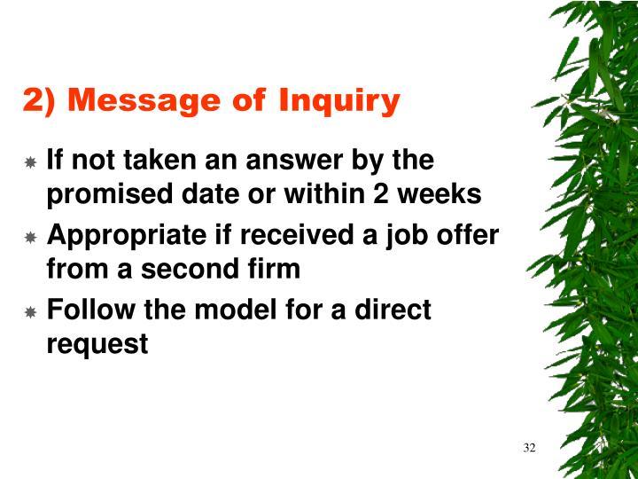 2) Message of Inquiry