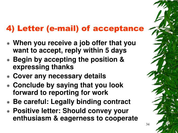 4) Letter (e-mail) of acceptance