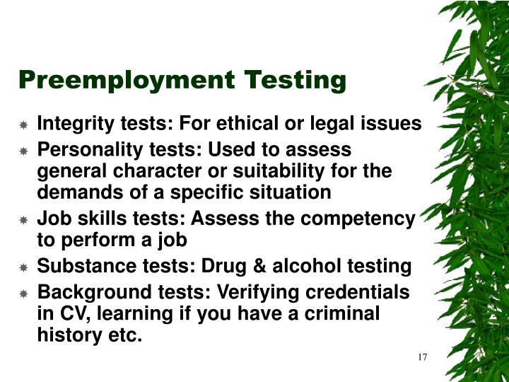 Preemployment Testing