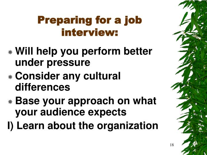 Preparing for a job interview: