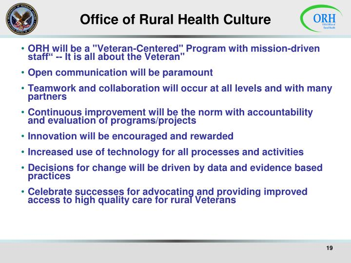 Office of Rural Health Culture