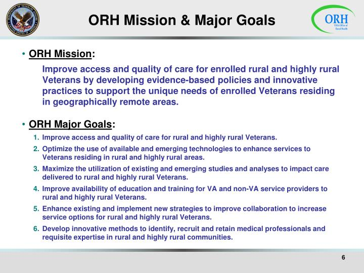 ORH Mission & Major Goals