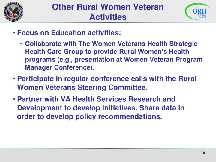 Other Rural Women Veteran Activities