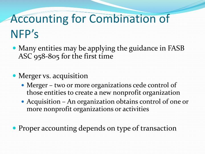 Accounting for Combination of NFP's
