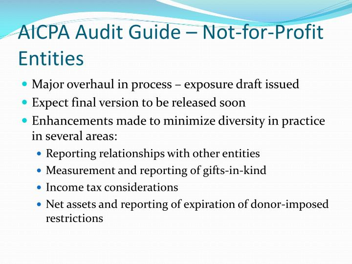 AICPA Audit Guide – Not-for-Profit Entities