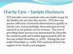 charity care sample disclosure