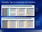example tips to customize the solution