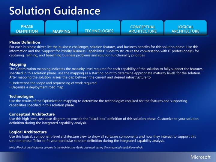 Solution Guidance