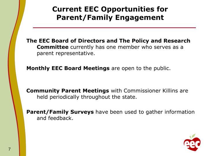 Current EEC Opportunities for