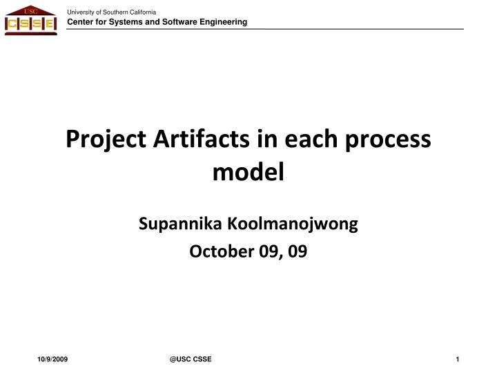 Project artifacts in each process model
