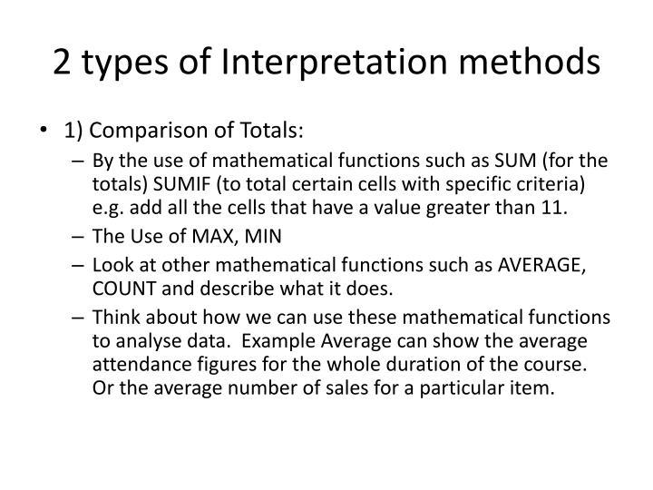 2 types of Interpretation methods