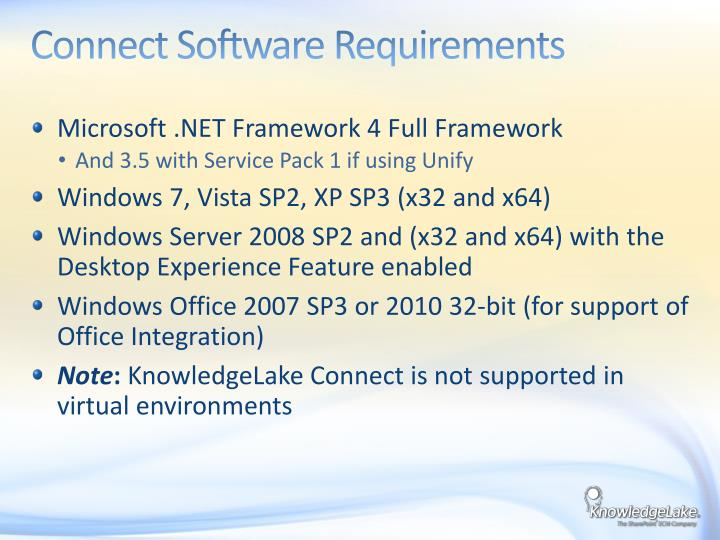 Connect Software Requirements