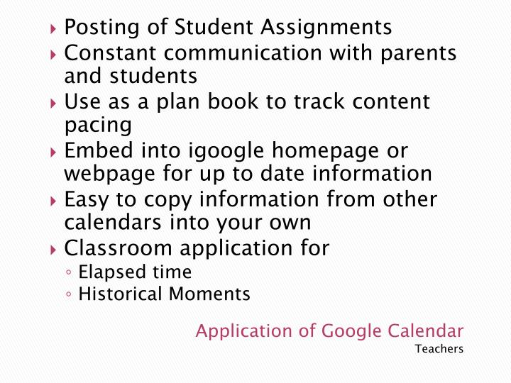 Posting of Student Assignments