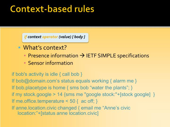 Context-based rules