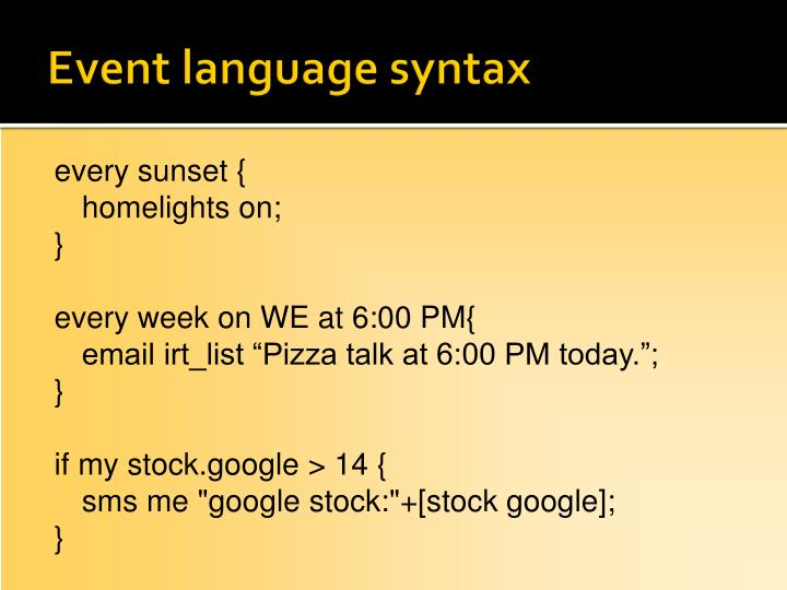 Event language syntax