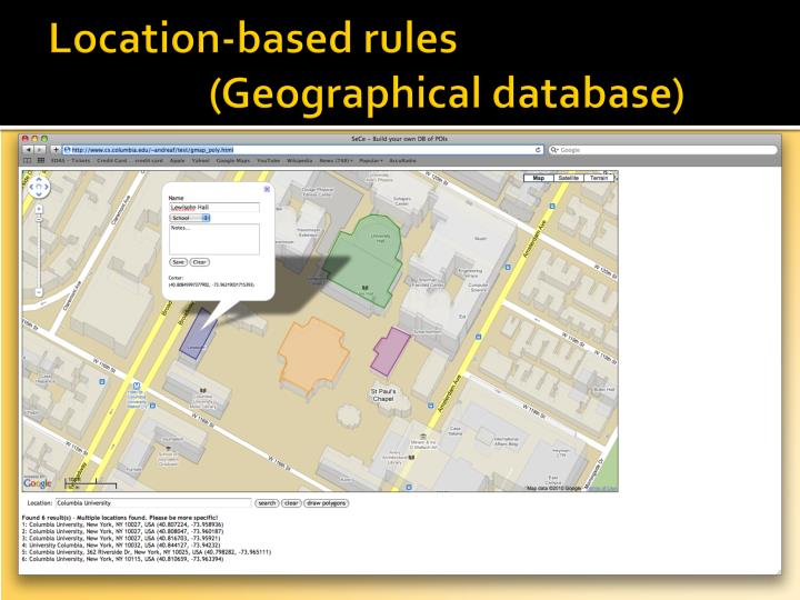 Location-based rules