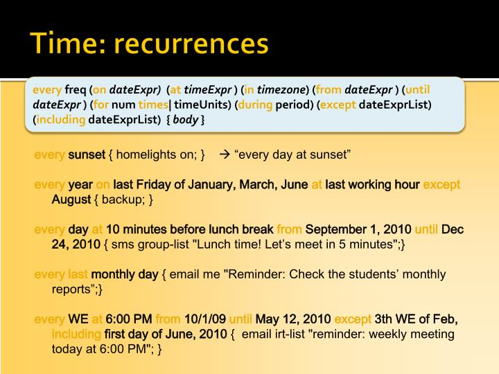 Time: recurrences