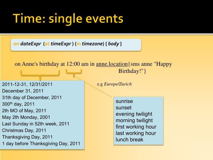 Time: single events