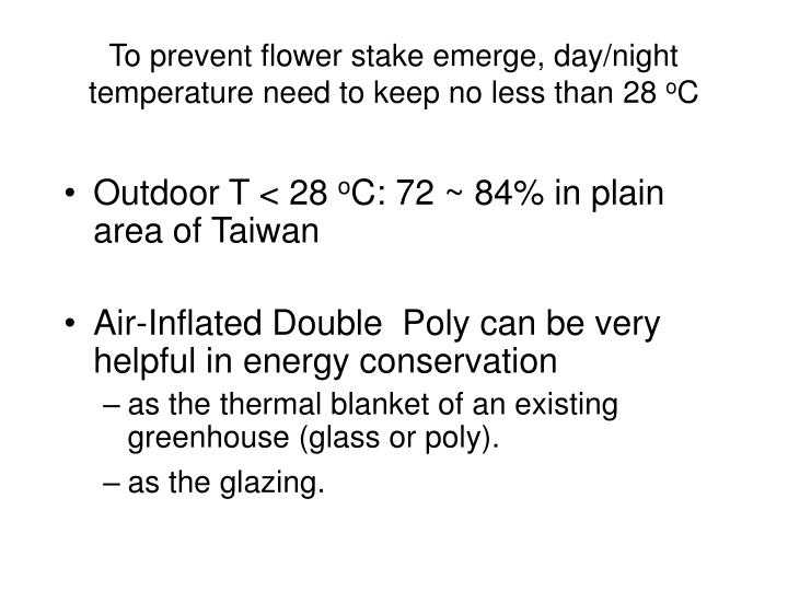 To prevent flower stake emerge, day/night temperature need to keep no less than 28