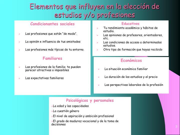 Elementos que influyen en la elección de estudios y/o profesiones