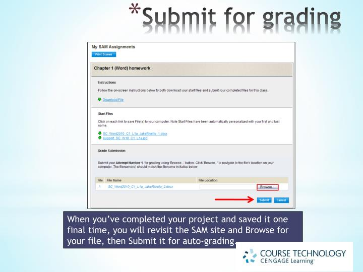 Submit for grading