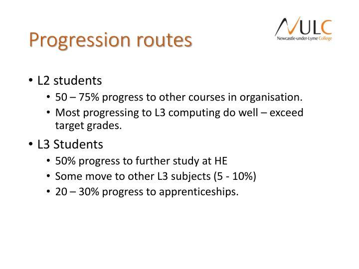 Progression routes