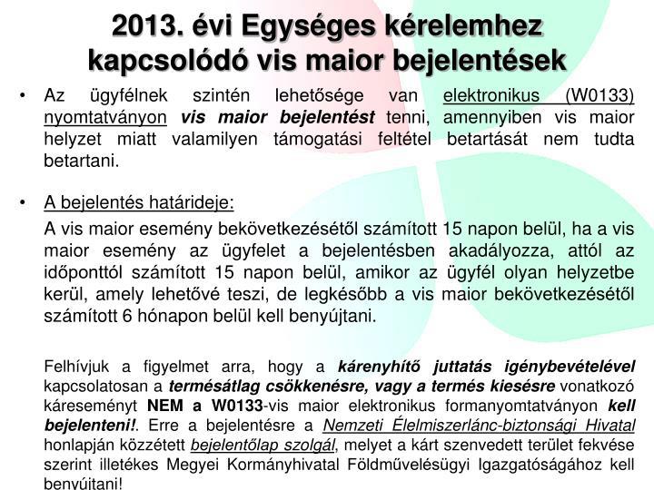 2013. évi Egységes kérelemhez kapcsolódó vis maior bejelentések