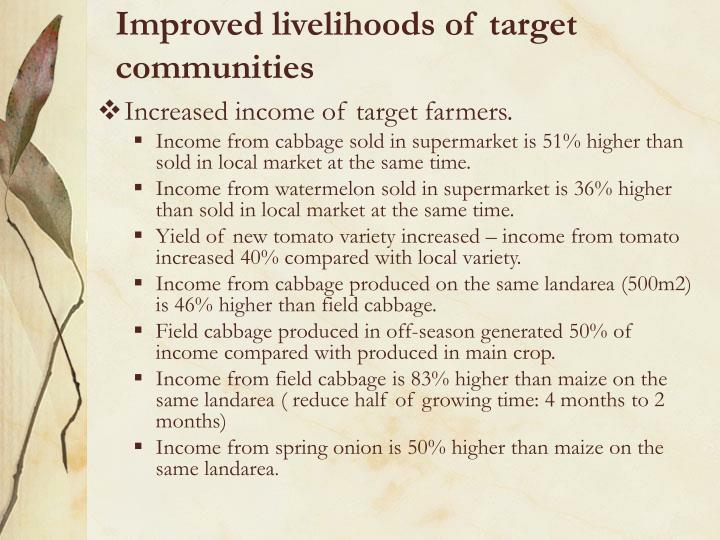 Improved livelihoods of target communities