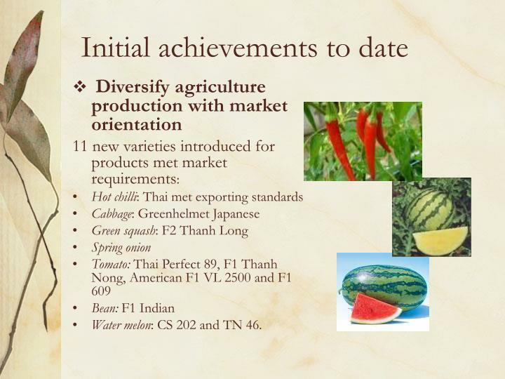 Diversify agriculture production with market orientation