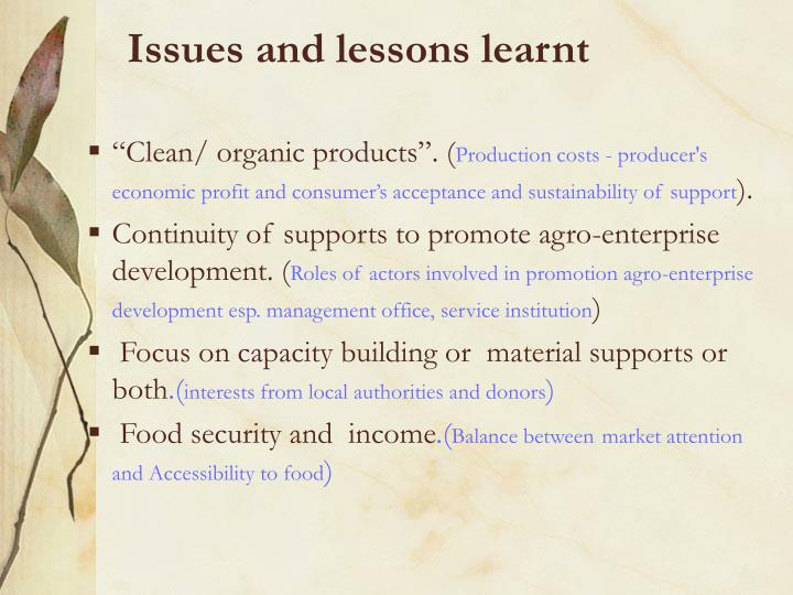Issues and lessons learnt