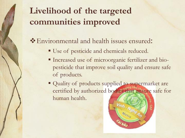 Livelihood of the targeted communities improved