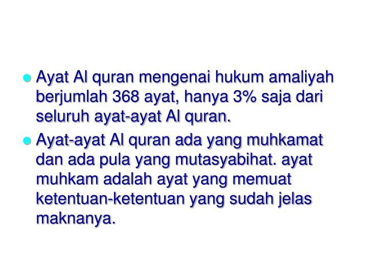 Ayat Al quran mengenai hukum amaliyah berjumlah 368 ayat, hanya 3% saja dari seluruh ayat-ayat Al quran.