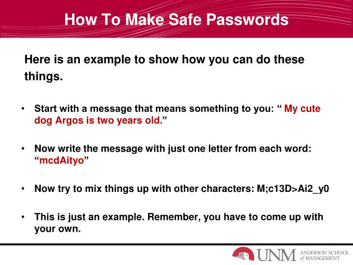 How To Make Safe Passwords