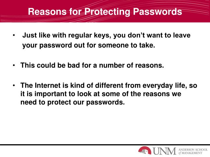Reasons for Protecting Passwords
